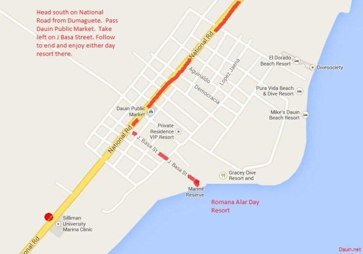 Map to Romana Alar Day Resort - Dauin