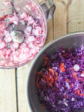 A food processor makes light work for this red cabbage and pomegranate salad on mycustardpie.com