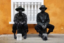 Street artists performing for tourists