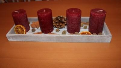 Adventsdekoration Kerze in Schale