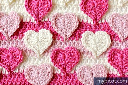 Free #Crochet Pattern - Multicolored Hearts