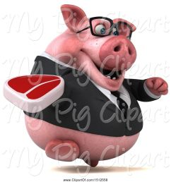 swine clipart of 3d chubby business pig holding a steak on a white background [ 1024 x 1044 Pixel ]
