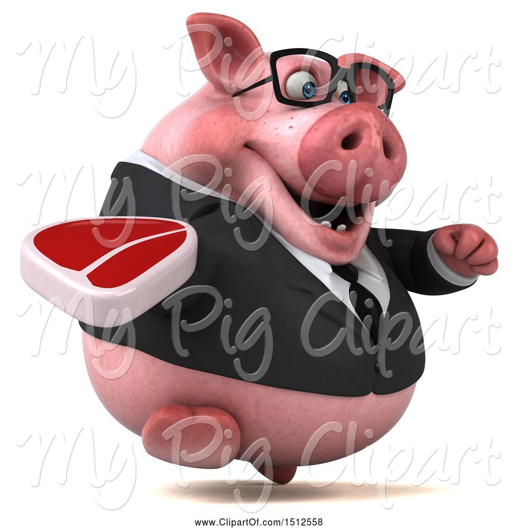 hight resolution of swine clipart of 3d chubby business pig holding a steak on a white background