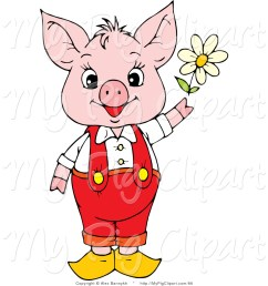 swine clipart of a cute and young pink piggy in red pants and suspenders holding a white spring daisy [ 1024 x 1044 Pixel ]