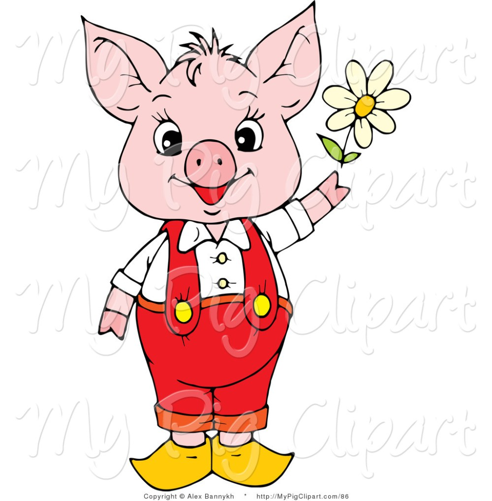 medium resolution of swine clipart of a cute and young pink piggy in red pants and suspenders holding a white spring daisy