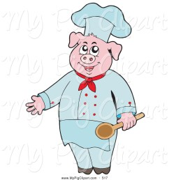 swine clipart of a cute culinary chef pig holding a spoon [ 1024 x 1044 Pixel ]