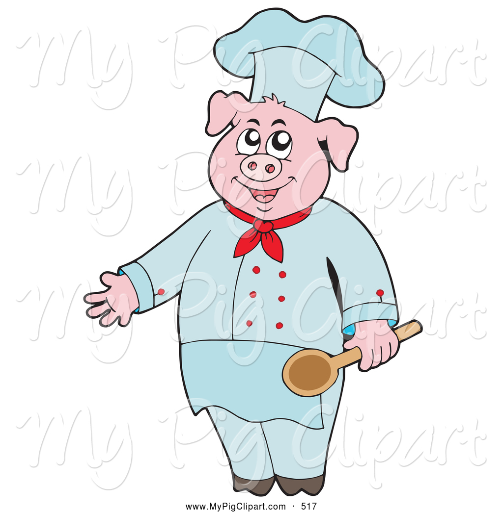 hight resolution of swine clipart of a cute culinary chef pig holding a spoon