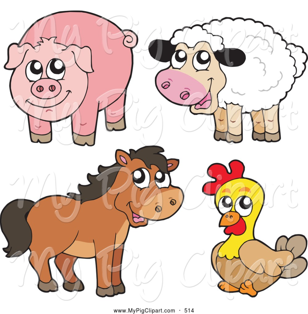 medium resolution of swine clipart of a farm animal group cute sheep pig horse and chicken