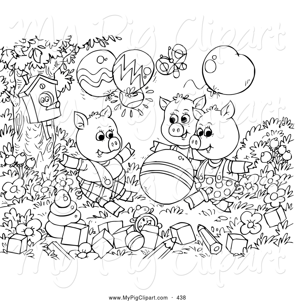 Swine Clipart Of A Group Of Black And White Three Little