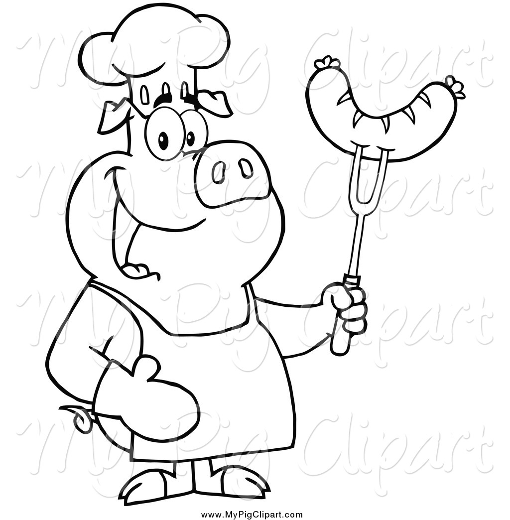 Swine Clipart of a Lineart Happy Chef Pig Holding a