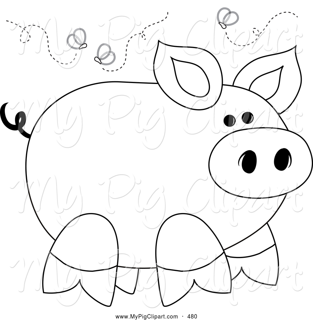 Swine Clipart Of A Smelly Stinky Piggy Surrounded By Flies