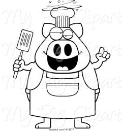 swine clipart of cartoon black and white lineart drunk chef pig holding a spatula [ 1024 x 1044 Pixel ]