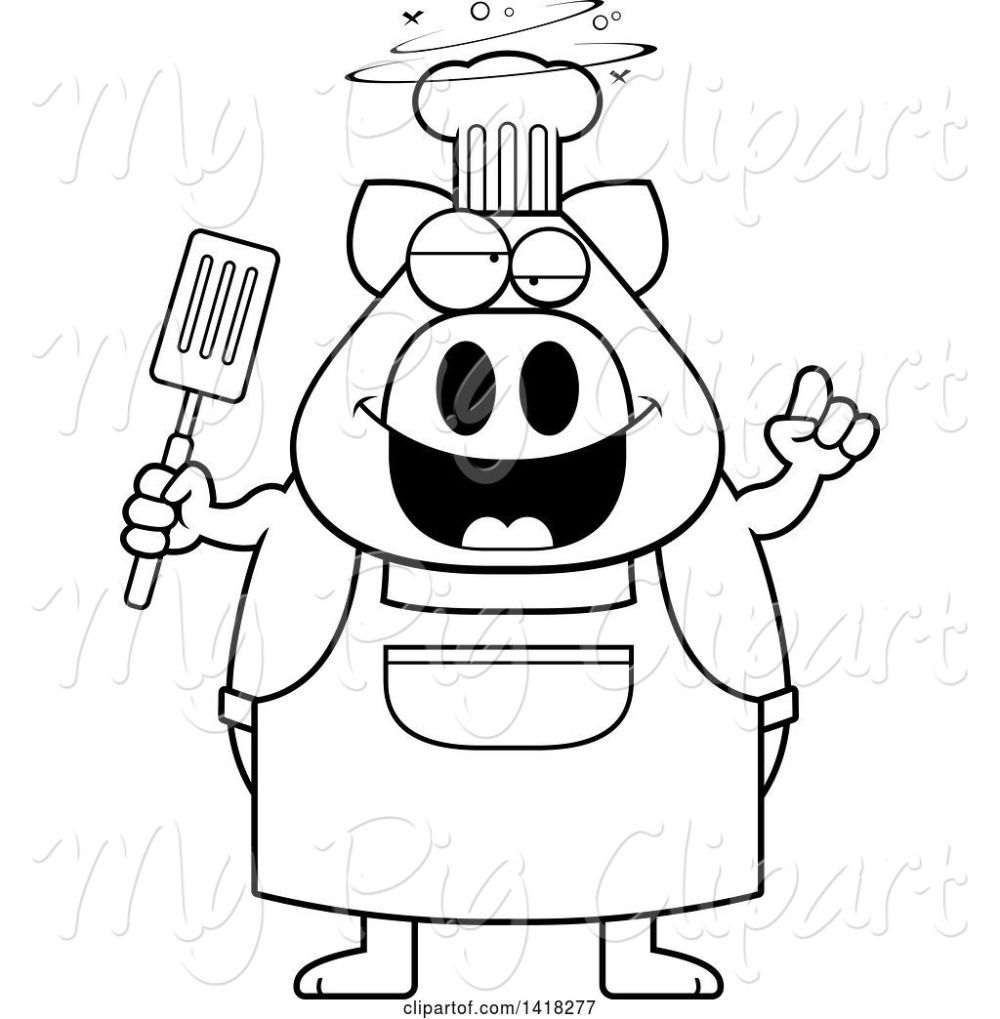 medium resolution of swine clipart of cartoon black and white lineart drunk chef pig holding a spatula