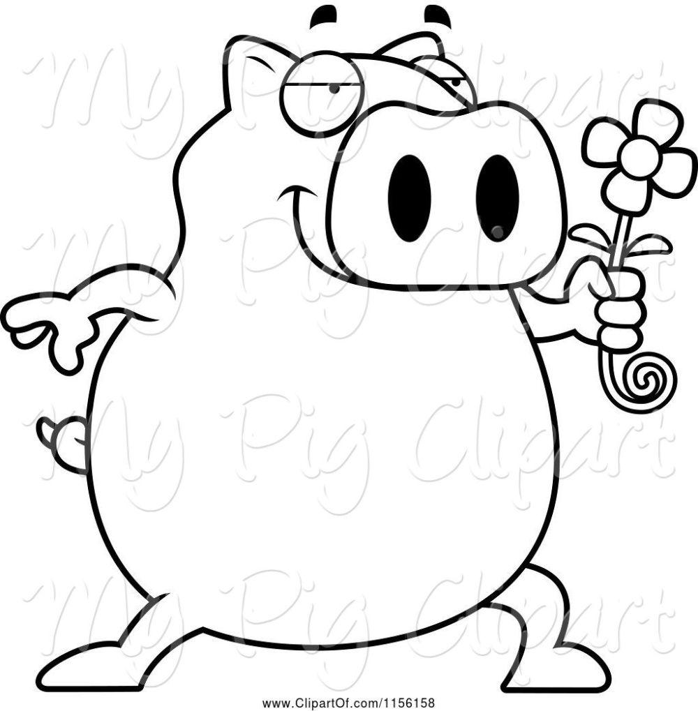 medium resolution of swine clipart of cartoon black and white pig holding a daisy flower