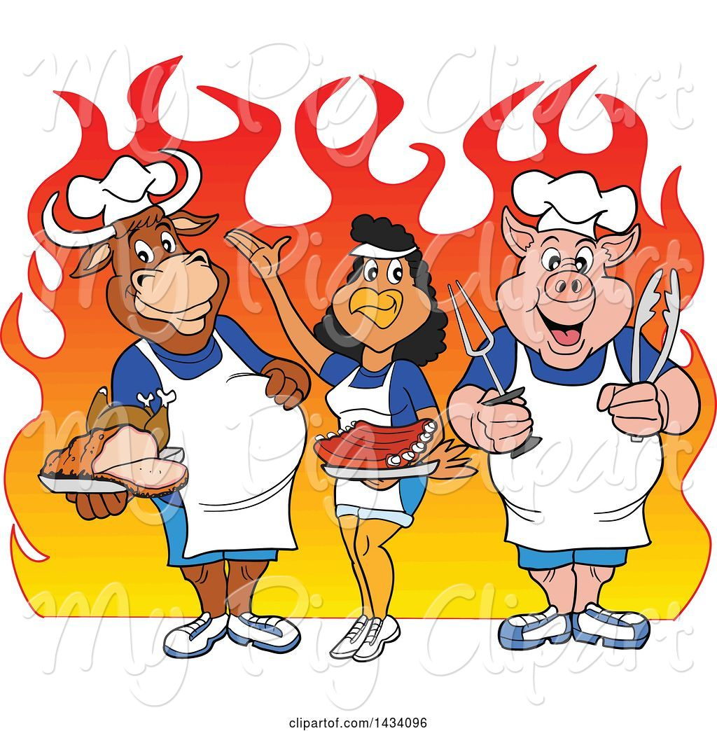 hight resolution of swine clipart of cartoon chef cow chicken and pig with a roasted chicken brisket and ribs over flames