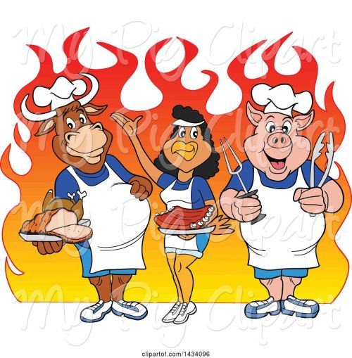 small resolution of swine clipart of cartoon chef cow chicken and pig with a roasted chicken brisket and ribs over flames