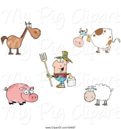 swine clipart of cartoon digital collage of farm animals and a farmer [ 1024 x 1044 Pixel ]