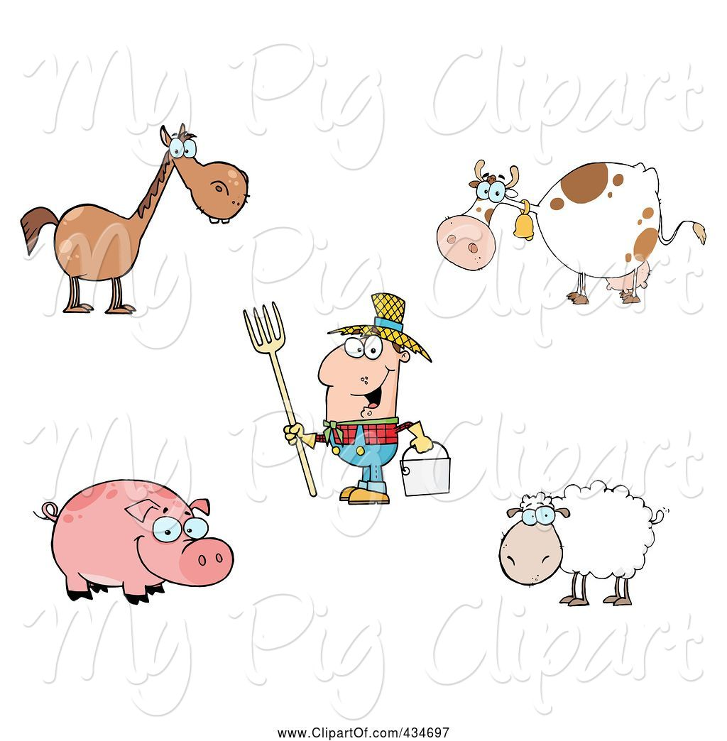 hight resolution of swine clipart of cartoon digital collage of farm animals and a farmer