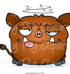 swine clipart of cartoon drunk boar character mascot [ 1024 x 1044 Pixel ]