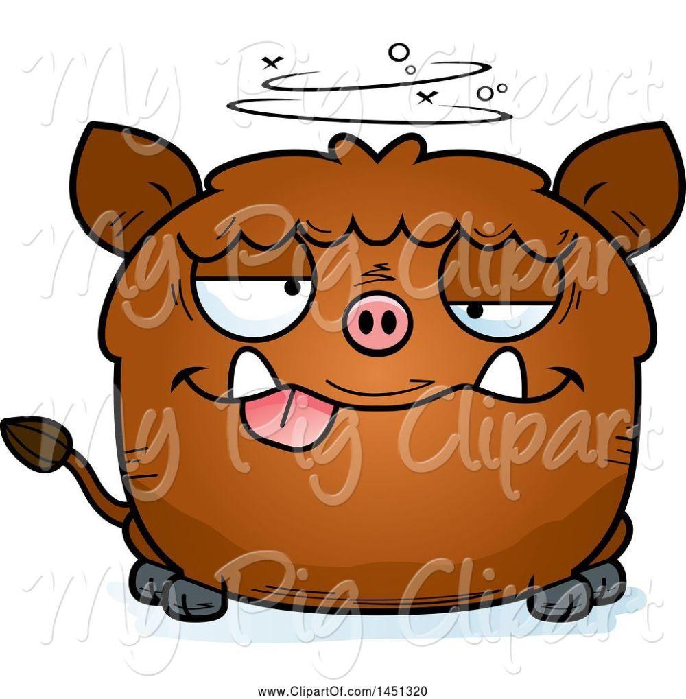 medium resolution of swine clipart of cartoon drunk boar character mascot