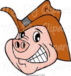 swine clipart of cartoon grinning pig wearing a cowboy hat [ 1024 x 1044 Pixel ]