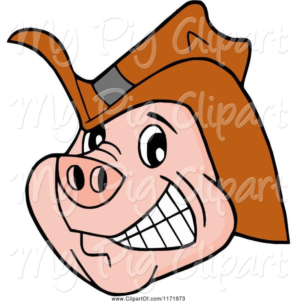 medium resolution of swine clipart of cartoon grinning pig wearing a cowboy hat