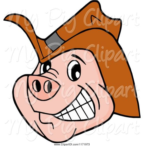 small resolution of swine clipart of cartoon grinning pig wearing a cowboy hat
