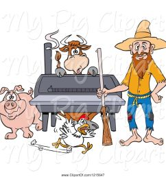 swine clipart of cartoon hillbilly guy with a rifle standing by a bbq smoker with a cow chicken and pig [ 1024 x 1044 Pixel ]