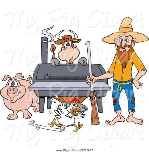 small resolution of swine clipart of cartoon hillbilly guy with a rifle standing by a bbq smoker with a cow chicken and pig