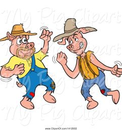 swine clipart of cartoon hillbilly pigs fighting [ 1024 x 1044 Pixel ]