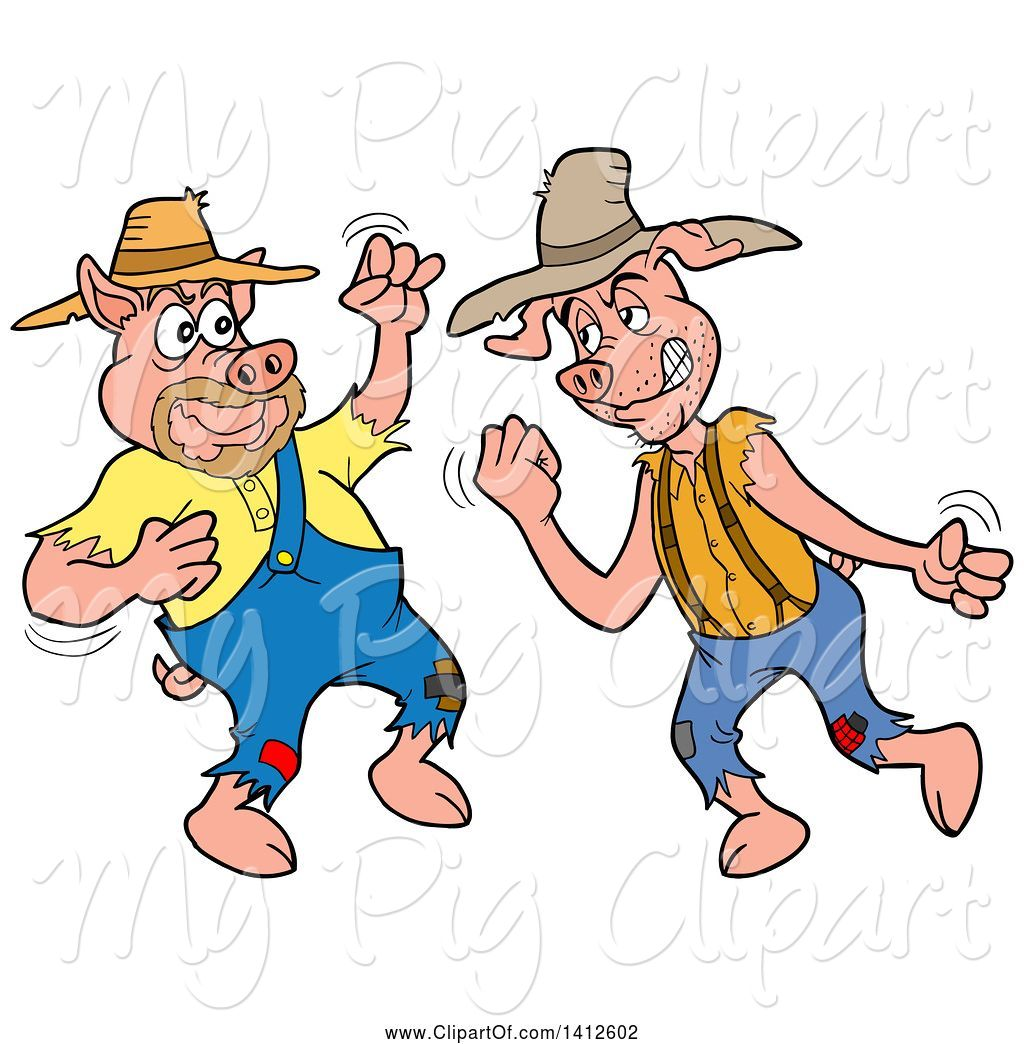hight resolution of swine clipart of cartoon hillbilly pigs fighting