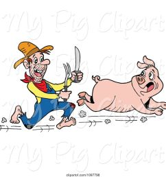 swine clipart of cartoon hungry hillbilly guy chasing a pig with a knife and fork [ 1024 x 1044 Pixel ]