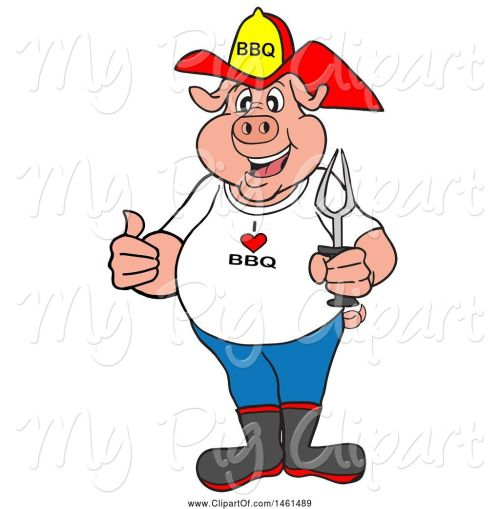 small resolution of swine clipart of cartoon pig firefighter holding a thumb up and a bbq fork