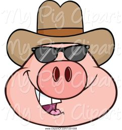 swine clipart of cartoon pig head with a cowboy hat and sunglasses [ 1024 x 1044 Pixel ]
