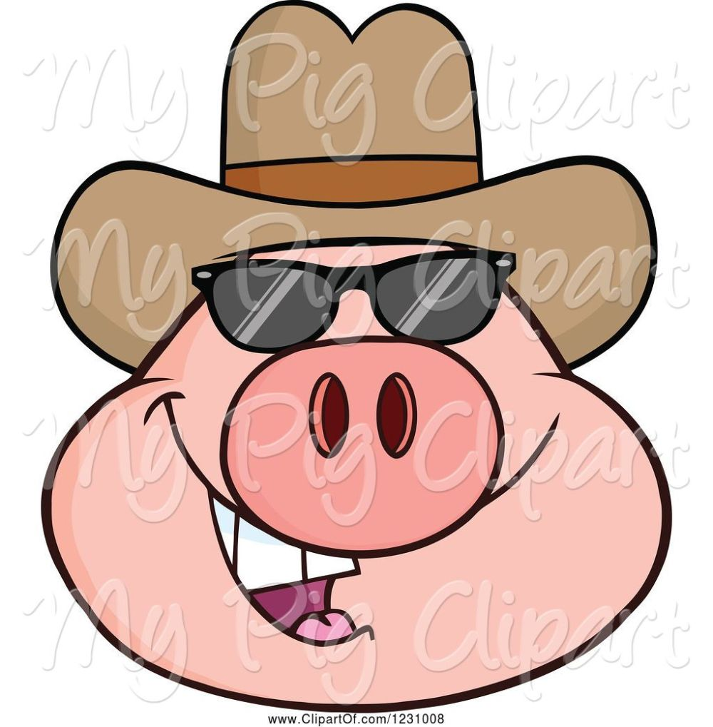 medium resolution of swine clipart of cartoon pig head with a cowboy hat and sunglasses