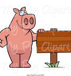 swine clipart of cartoon pig standing beside a blank wood sign [ 1024 x 1044 Pixel ]