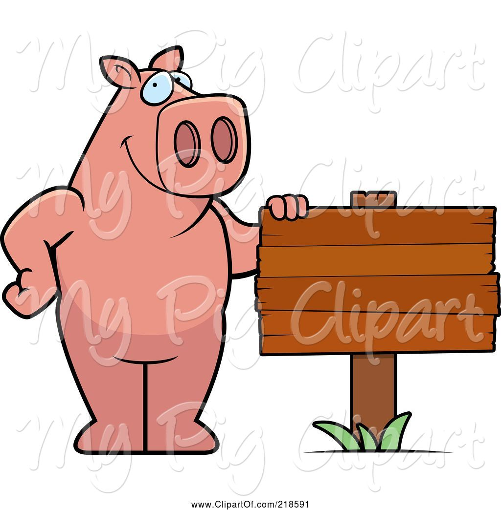 hight resolution of swine clipart of cartoon pig standing beside a blank wood sign
