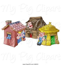 swine clipart of cartoon piggies from the three little pigs fairy tale at their brick wood and straw houses [ 1024 x 1044 Pixel ]