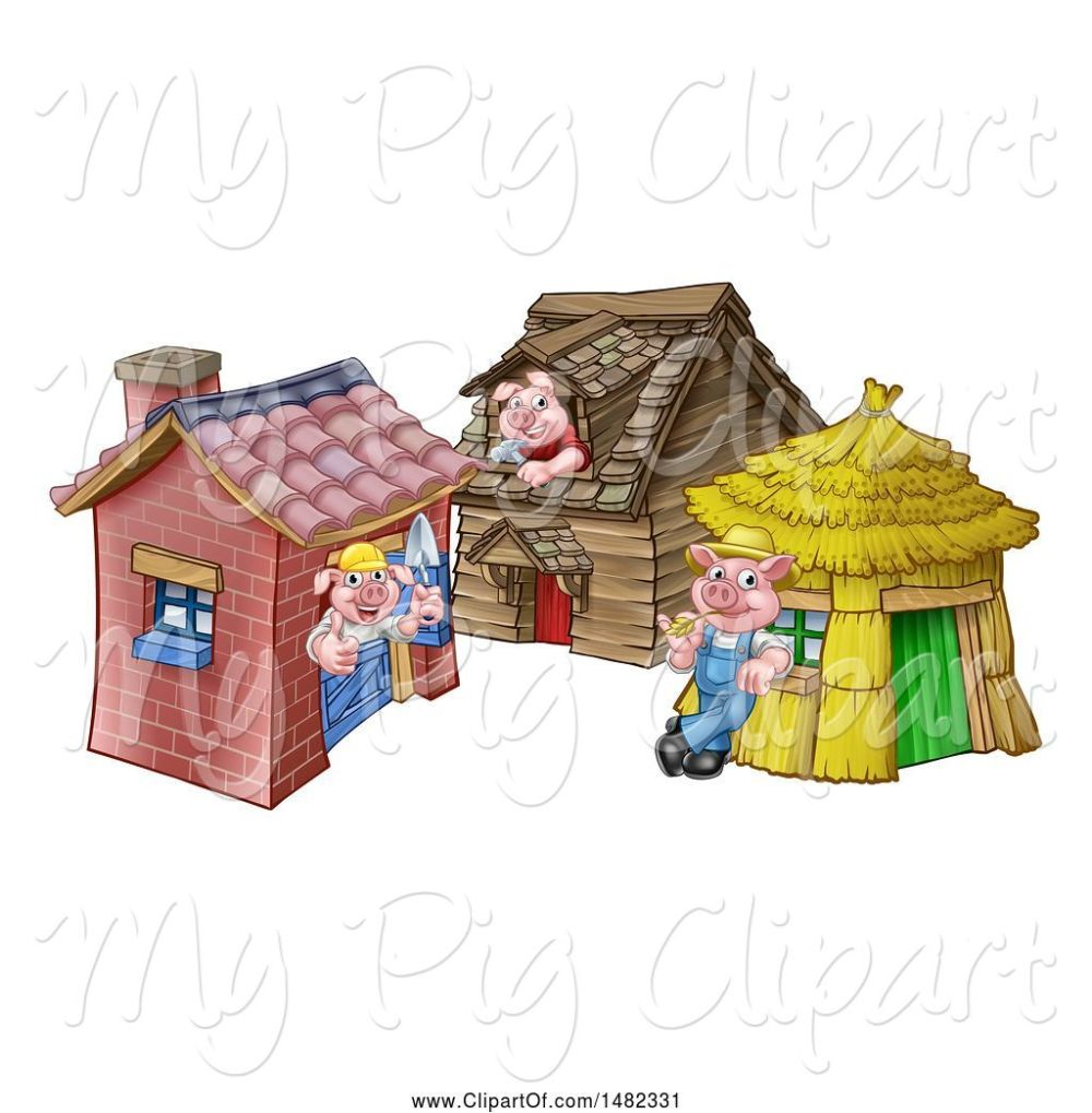 medium resolution of swine clipart of cartoon piggies from the three little pigs fairy tale at their brick wood and straw houses