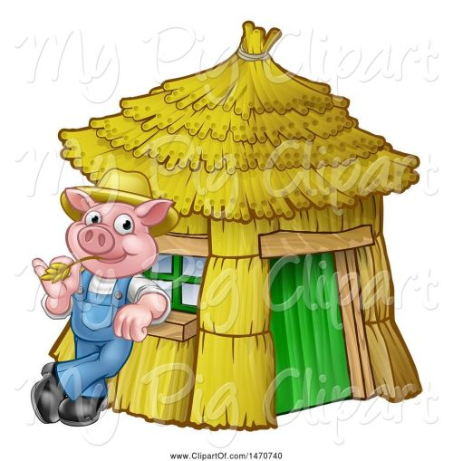 small resolution of swine clipart of cartoon piggy from the three little pigs fairy tale leaning against his straw house