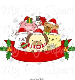 swine clipart of cartoon red christmas banner with holly and festive animals [ 1024 x 1044 Pixel ]