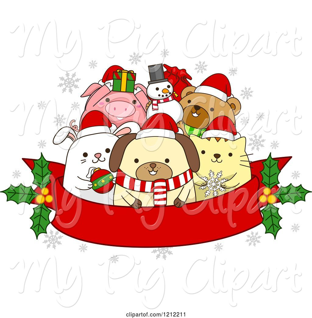 hight resolution of swine clipart of cartoon red christmas banner with holly and festive animals