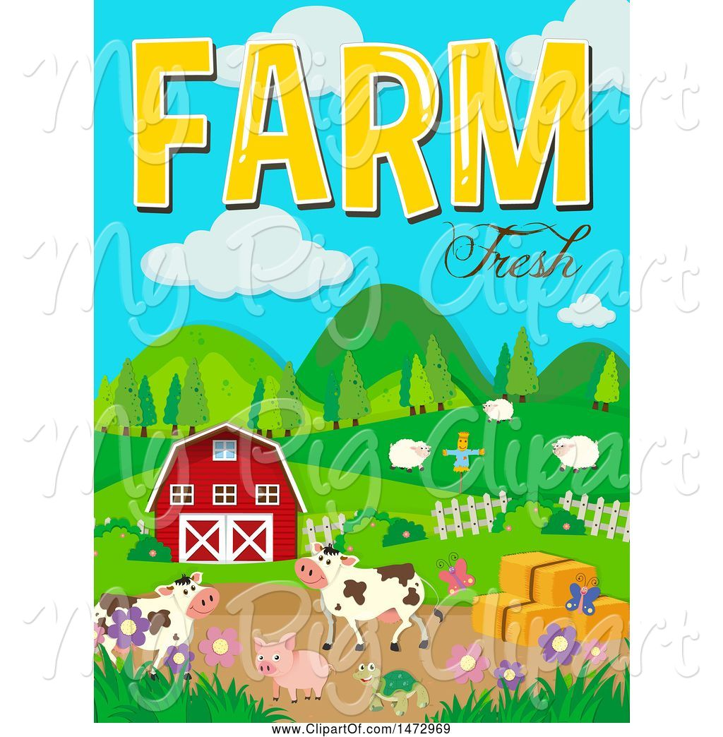 hight resolution of swine clipart of group of farm animals and farm fresh text