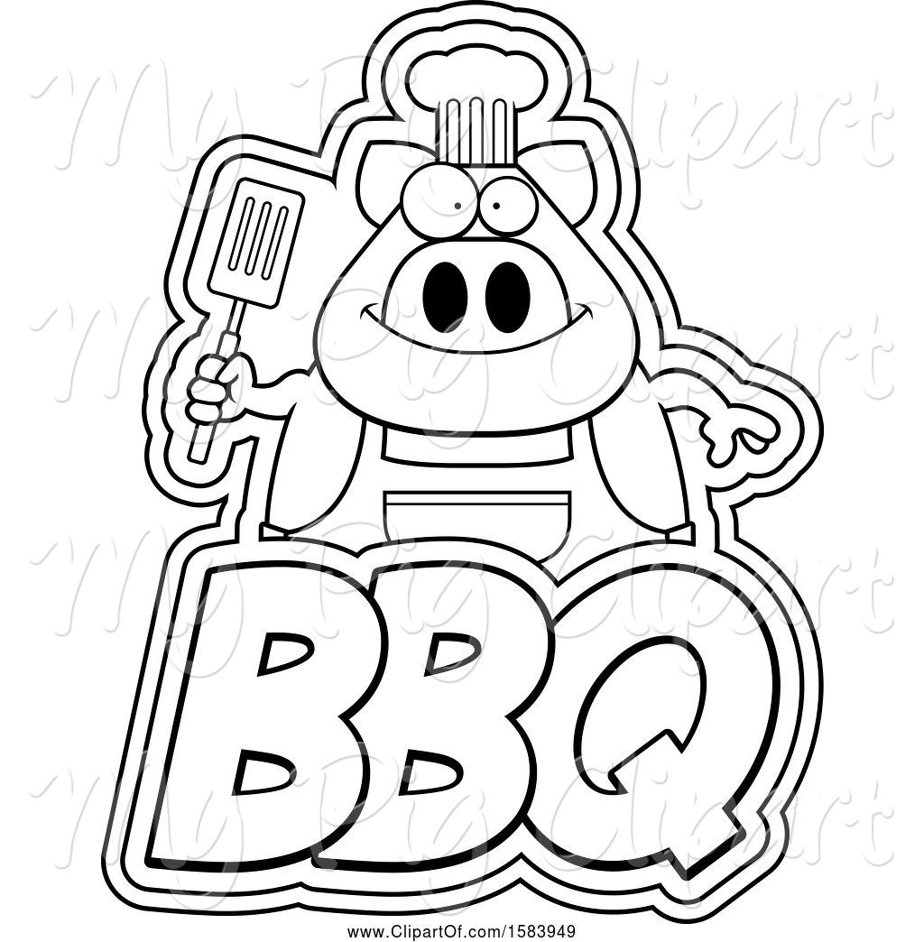 Swine Clipart of Lineart Grilling Chef Pig Holding a
