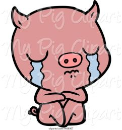 swine clipart of sitting pig crying [ 1024 x 1044 Pixel ]