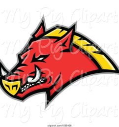 swine clipart of tough red and yellow russian razorback boar pig mascot head [ 1024 x 1044 Pixel ]