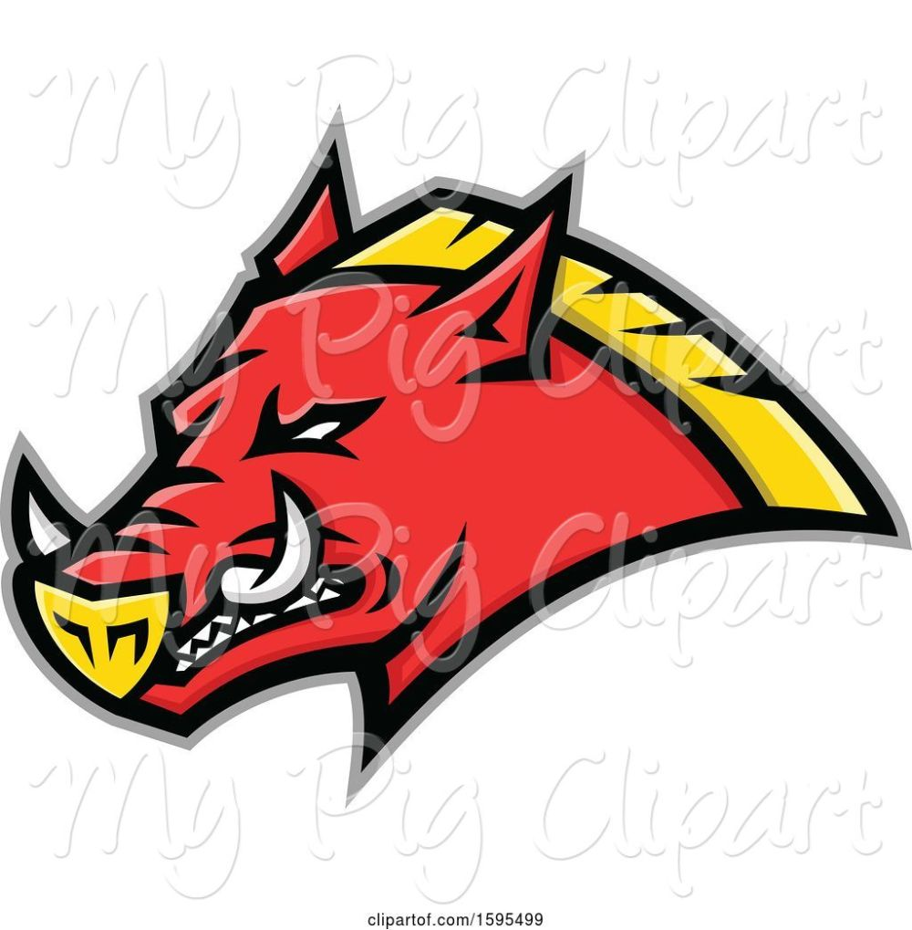 medium resolution of swine clipart of tough red and yellow russian razorback boar pig mascot head
