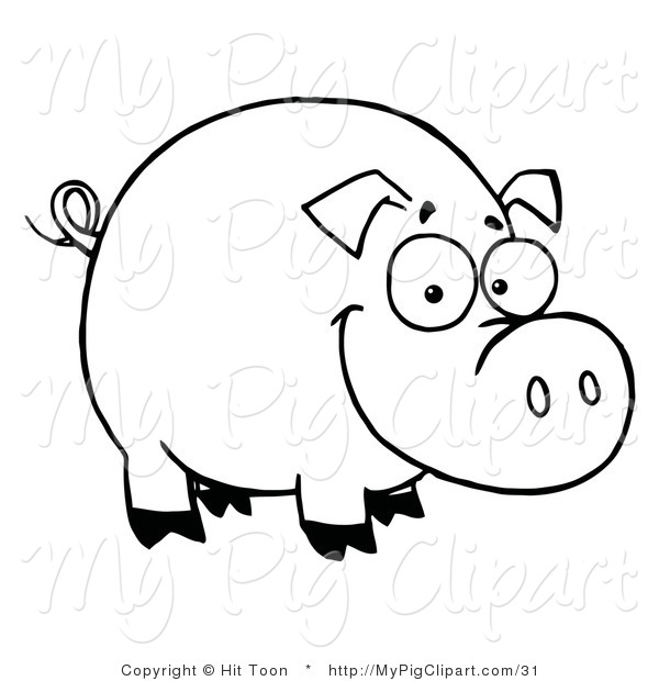 Swine Clipart of a Coloring Page Outline of a Happy