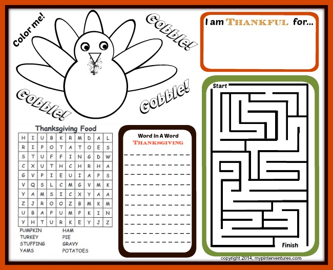 Kids Thanksgiving Activity Printables Thanksgiving Table Fun