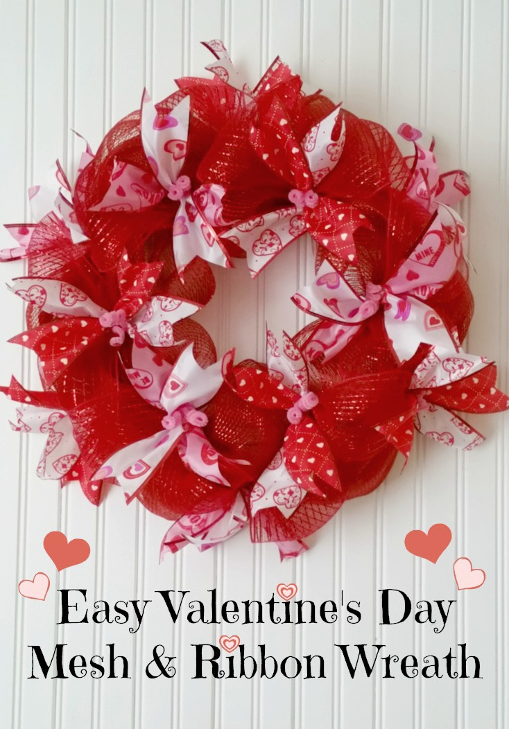 Easy Mesh  Ribbon Valentines Day Wreath